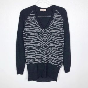 Rebecca Taylor Animal Print V-Neck Sweater